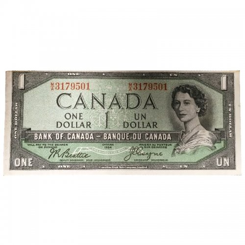1954 Bank of Canada $1 Dollar Bill Note Devils Face Variety (Fine)
