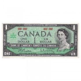 1967 Bank of Canada $1 Dollar Date Note Centennial of Canadian Confederation (Uncirculated)