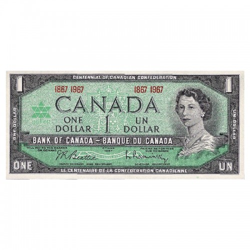 1967 (1867-) Bank of Canada $1 Dollar Date Note Centennial of Canadian Confederation (EF-AU)