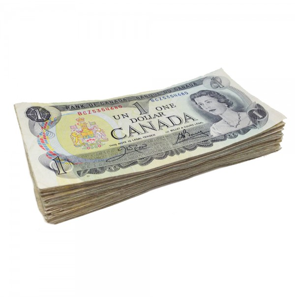1973 Bank of Canada $1 Dollar Bill, Circulated, Lot of 100