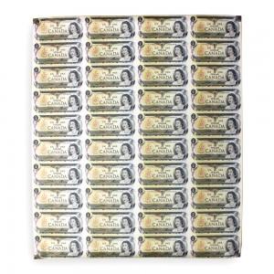 1973 Bank of Canada $1 Dollar Bill, Uncut Sheet