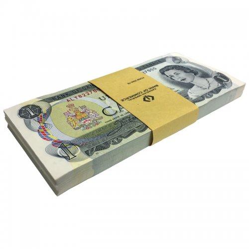 1973 Bank of Canada $1 Dollar Bill Multicoloured Series, Consecutive Uncirculated 100-ct Original Bundle