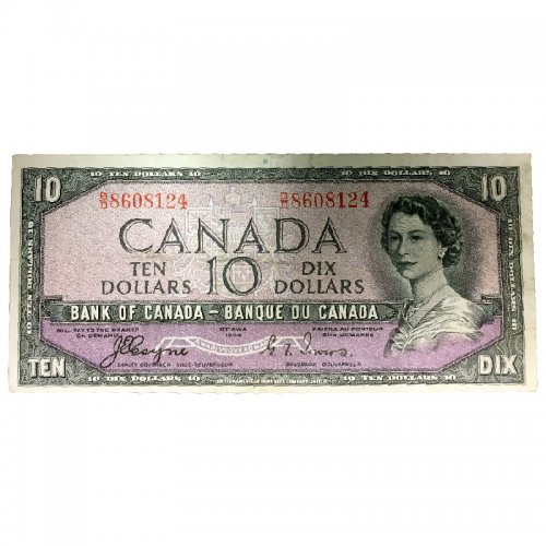 1954 Bank of Canada $10 Dollar Bill Note Devils Face Variety (Fine)