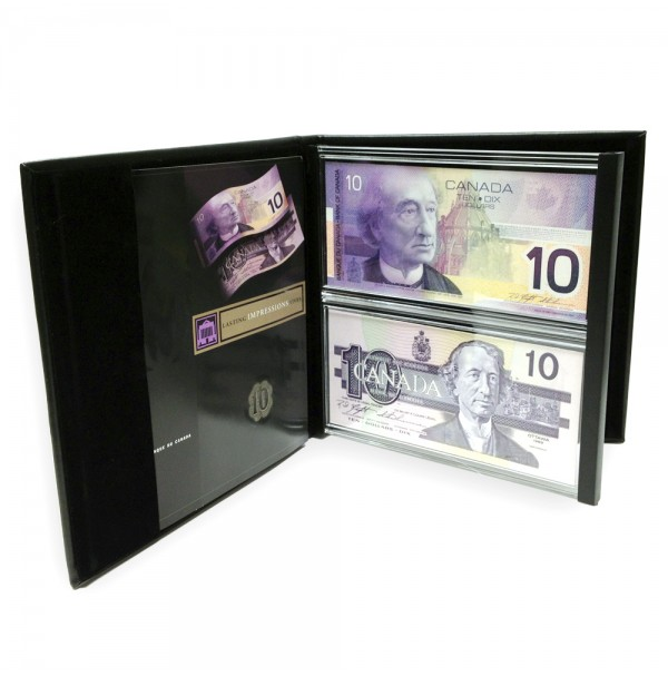 1986-2001 Bank of Canada $10 Dollar Bill, Lasting Impressions Dual Series Collector's Set (NO BOX)