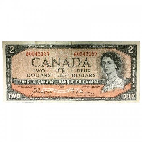 1954 Bank of Canada $2 Dollar Bill Note Devils Face Variety (Fine)