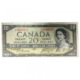 1954 Bank of Canada $20 Dollar Bill Note Devils Face Variety (Fine)