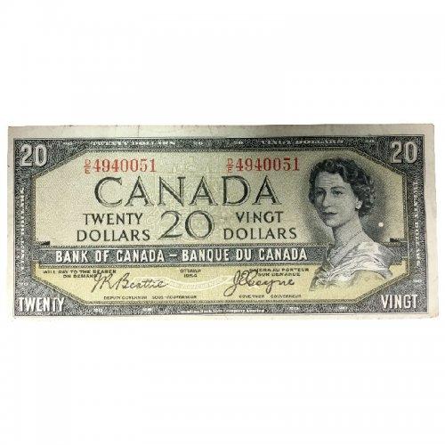 1954 Bank of Canada $20 Dollar Bill Note Devils Face Variety (Fine)
