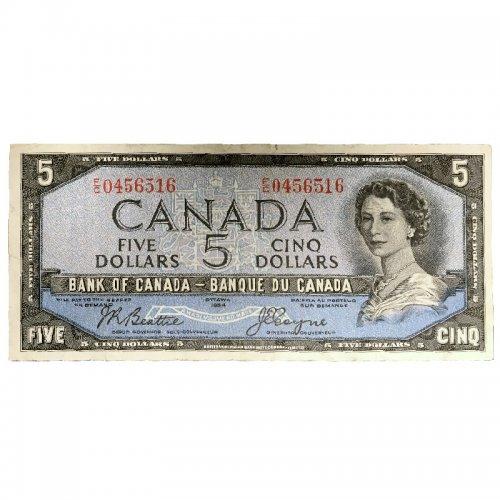 1954 Bank of Canada $5 Dollar Bill Note Devils Face Variety (Fine)