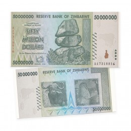 2008 Reserve Bank of Zimbabwe $50 Million Dollar Bill Note