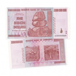 2008 Reserve Bank of Zimbabwe $5 Billion Dollar Bill Note