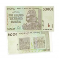 Reserve Bank of Zimbabwe $500 Thousand Dollar Banknote (2008)