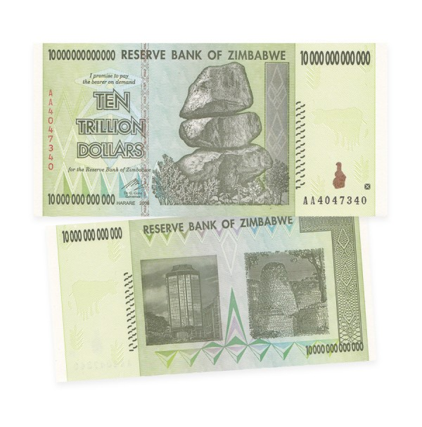 Reserve Bank of Zimbabwe $10 Trillion Dollar Banknote (2008)