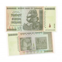 Reserve Bank of Zimbabwe $20 Billion Dollar Banknote (2008)