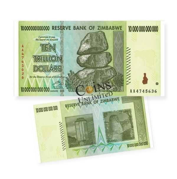 Reserve Bank of Zimbabwe $10 Trillion Dollar Banknote