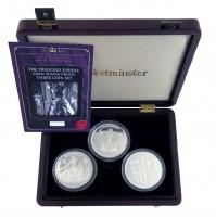 2012 Fiji $10 Queen Elizabeth II Diamond Jubilee 65mm Silver Proof Three Coin Set