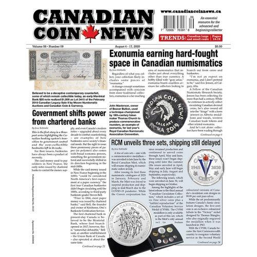 2020 Canadian Coin News Vol 58 #09, Aug 4 - Aug 17