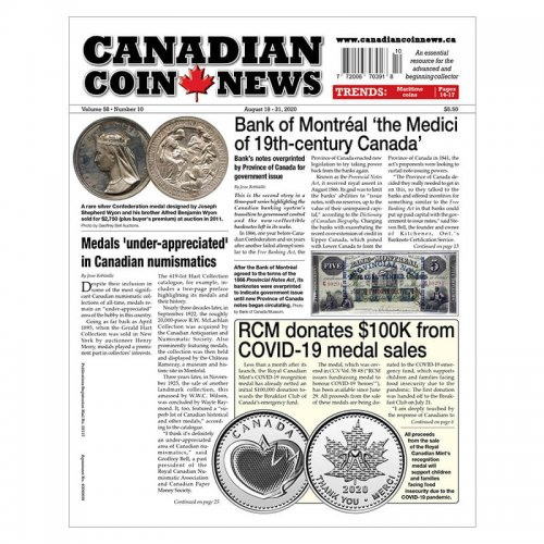 2020 Canadian Coin News Vol 58 #10, Aug 18 - Aug 31