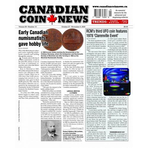 2020 Canadian Coin News Vol 58 #15, Oct 27 - Nov 9