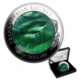 2016 Cook Islands 5 oz Fine Silver $25 Coin - 100th Anniversary of the Trans-Siberian Railway