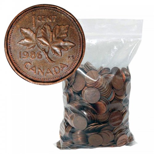 1960-1996 Canadian 1-Cent Maple Leaf Twig Penny 98% Copper 5 lb (2.3 kg) Bulk Circulated Coin Lot
