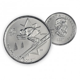 2007 Canada Vancouver 2010 Olympics 25-cent Alpine Skiing (Brilliant Uncirculated)