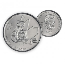 2007 Canada Vancouver 2010 Paralympics 25-cent Wheelchair Curling (Brilliant Uncirculated)