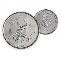 2008 Canada Vancouver 2010 Olympics 25-cent Freestyle Skiing (Brilliant Uncirculated)