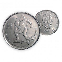 2009 Vancouver 2010 Olympics 25-cent Speed Skating (Brilliant Uncirculated)