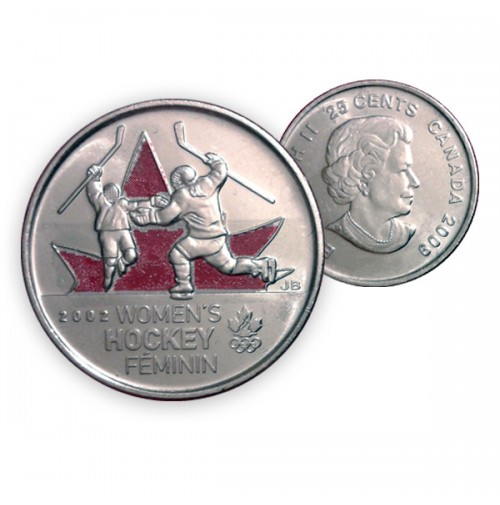 2009 Canada Golden Moments 25-cent Women's Hockey 2002 Coloured (Brilliant Uncirculated)