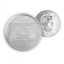 2015 Canada 25 Cent Circulation Coin - 50th Anniversary of the Canadian Flag (Brilliant Uncirculated)
