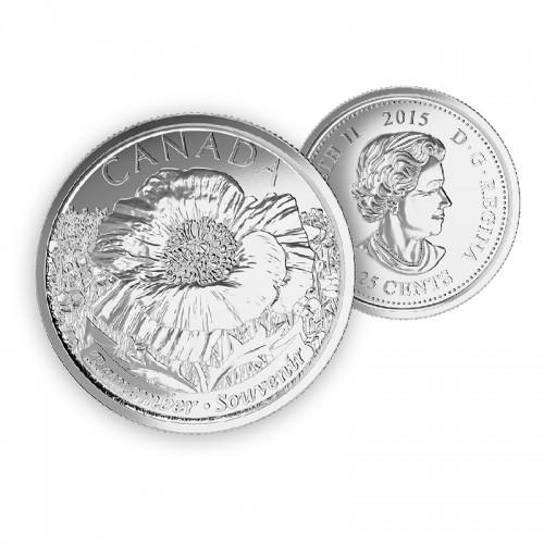 2015 Canada 25-cent Remembrance Poppy (Brilliant Uncirculated)