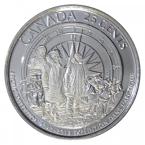 2013 (1913-) Canadian 25-Cent Arctic Expedition 100th Anniv Frosted Quarter Coin (Brilliant Uncirculated)