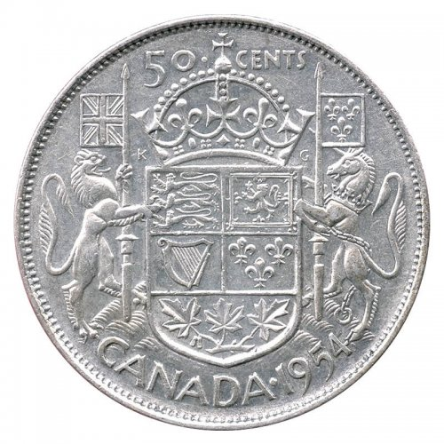 1954 Canadian 50-Cent Coat of Arms Silver Half Dollar Coin (VF-EF)