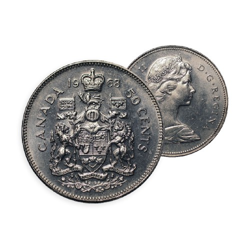 1968 Canadian 50-Cent Coat of Arms Half Dollar Coin (Circulated)