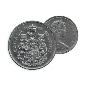 1976 Canadian 50-Cent Coat of Arms Half Dollar Coin (Circulated)