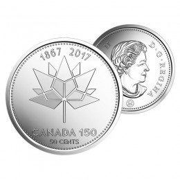 2017 (1867-) Canadian 50-Cent Canada 150 Official Logo Half Dollar Coin (Brilliant Uncirculated)