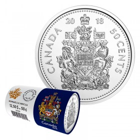 2018 Canadian 50-Cent Coat of Arms Special Wrap Circulation Coin Roll