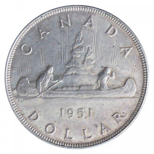 1951 Canadian $1 Voyageur Silver Dollar Coin (EF)