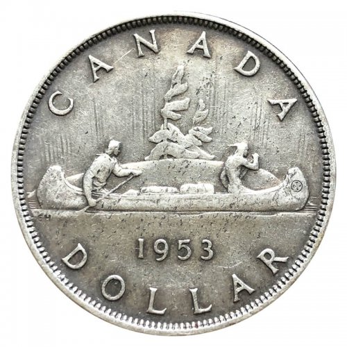1953 Canadian $1 Voyageur Silver Dollar Coin (EF or BETTER)