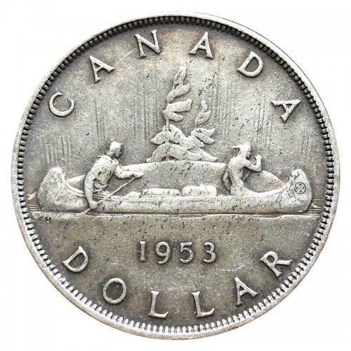 1953 Canadian $1 Voyageur Silver Dollar Coin (EF - AU)
