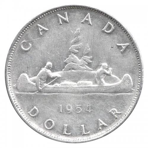 1954 Canadian $1 Voyageur Silver Dollar Coin (VF-EF)