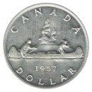 1957 1WL Canadian $1 Voyageur Silver Dollar Coin (VF - EF)