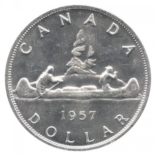 1957 Canadian $1 Voyageur Silver Dollar Coin (EF or BETTER)