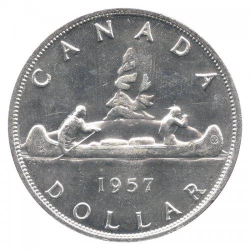 1957 Canadian $1 Voyageur Silver Dollar Coin (EF - AU)