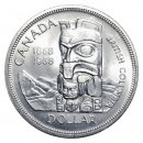 1958 (1858-) Canadian $1 British Columbia Centennial/Totem Pole Silver Dollar Coin (EF or better)