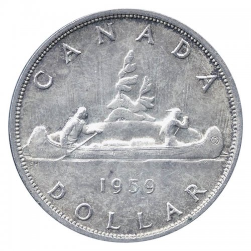 1959 Canadian $1 Voyageur Silver Dollar Coin (EF or better)