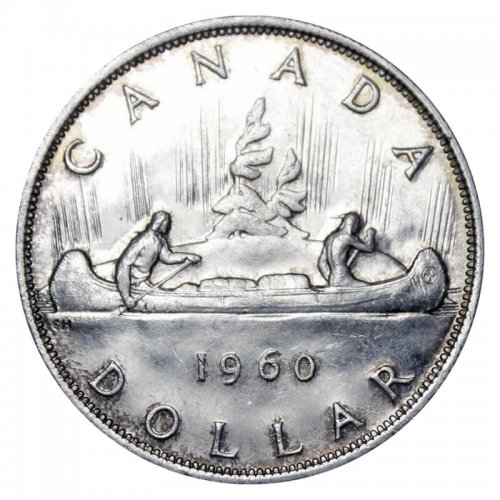 1960 Canadian $1 Voyageur Silver Dollar Coin (AU or better)