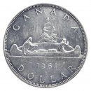 1961 Canadian $1 Voyageur Silver Dollar Coin (EF or better)