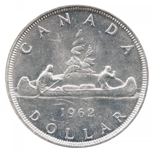 1962 Canadian $1 Voyageur Silver Dollar Coin (EF or better)