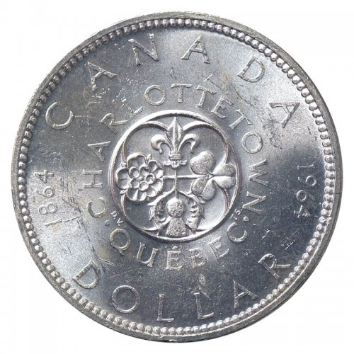 1964 (1864-) MISSING DOT Canadian $1 Confederation Meetings Commemorative Silver Dollar Coin (EF or better)